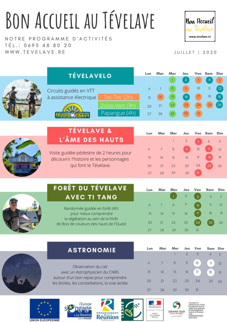 Programme d'activités de Juillet 2020 au Tévelave