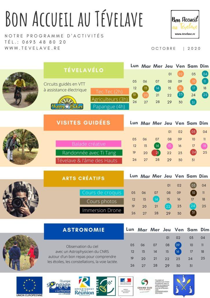 Programme d'activités au Tévelave pour Octobre 2020